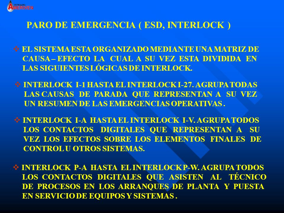 PARO DE EMERGENCIA ( ESD, INTERLOCK )