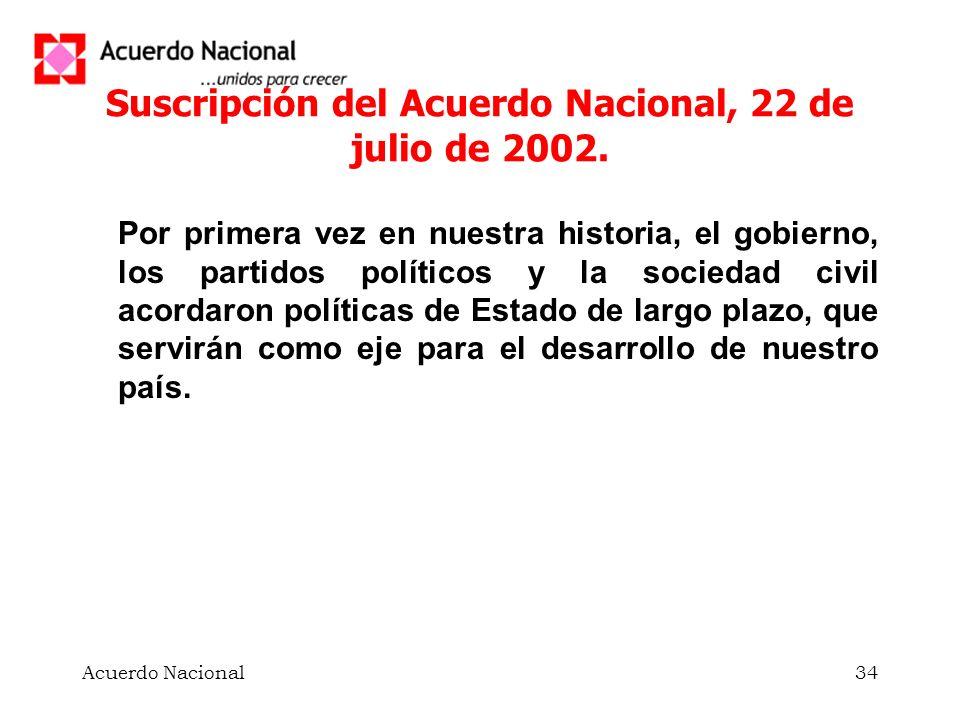 Suscripción del Acuerdo Nacional, 22 de julio de 2002.