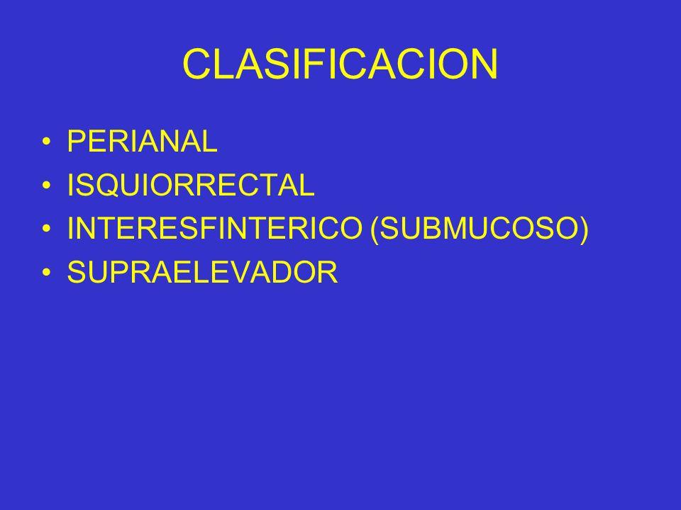 CLASIFICACION PERIANAL ISQUIORRECTAL INTERESFINTERICO (SUBMUCOSO)