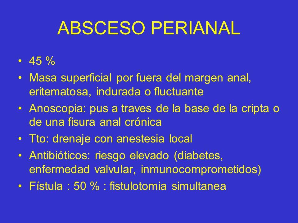 ABSCESO PERIANAL 45 % Masa superficial por fuera del margen anal, eritematosa, indurada o fluctuante.