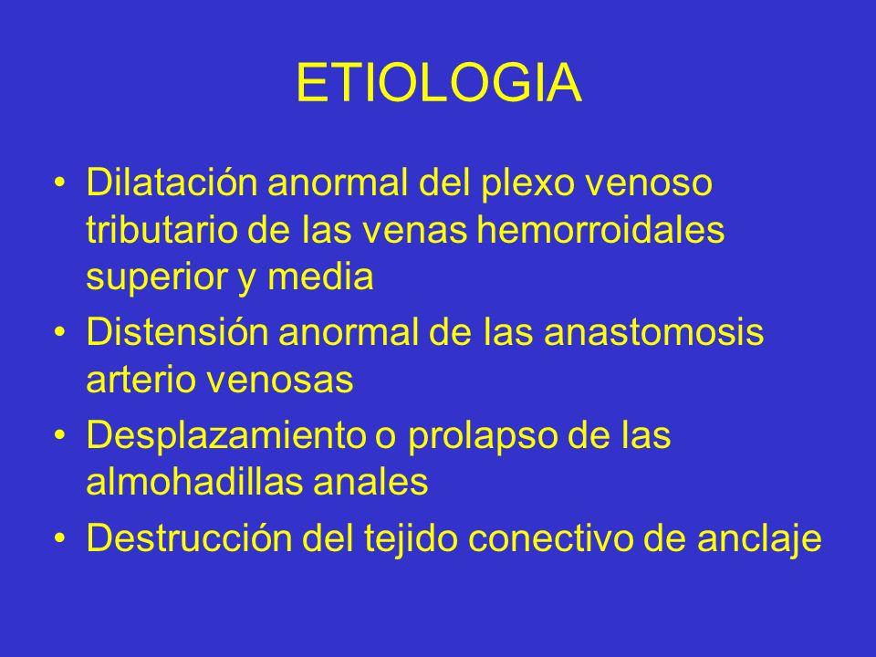 ETIOLOGIA Dilatación anormal del plexo venoso tributario de las venas hemorroidales superior y media.