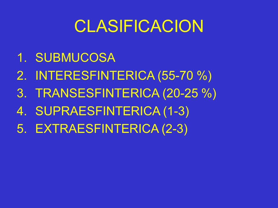 CLASIFICACION SUBMUCOSA INTERESFINTERICA (55-70 %)