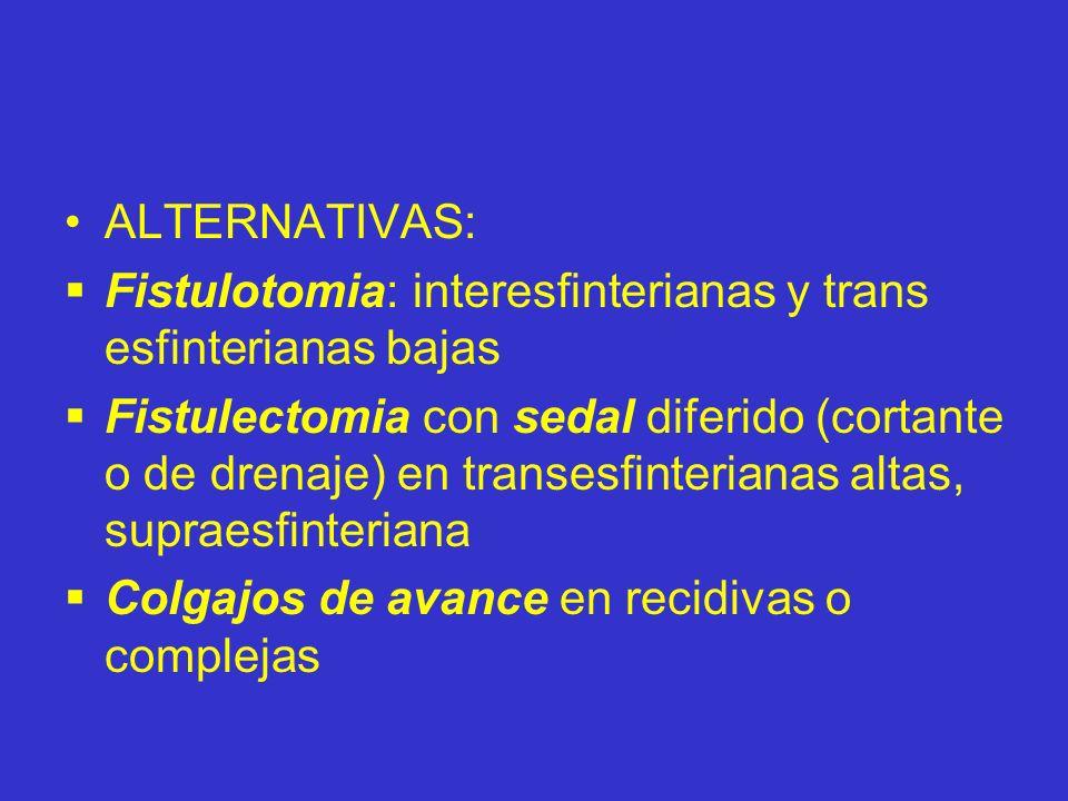 ALTERNATIVAS:Fistulotomia: interesfinterianas y trans esfinterianas bajas.