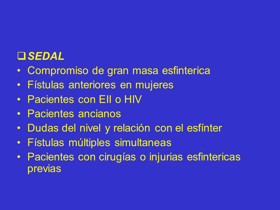 SEDALCompromiso de gran masa esfinterica. Fístulas anteriores en mujeres. Pacientes con EII o HIV. Pacientes ancianos.