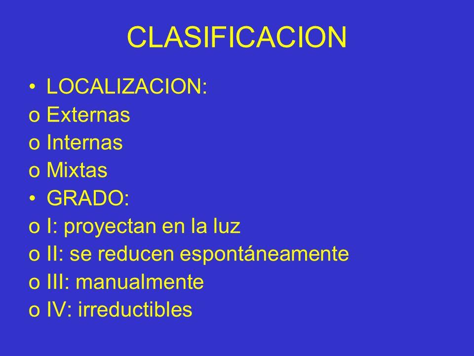 CLASIFICACION LOCALIZACION: Externas Internas Mixtas GRADO: