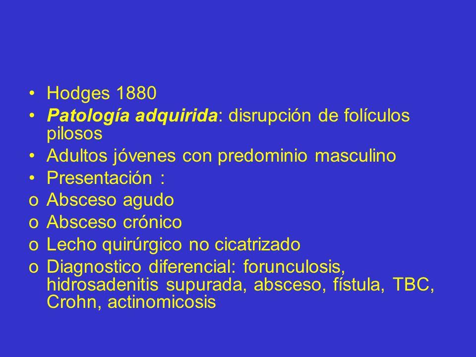 Hodges 1880Patología adquirida: disrupción de folículos pilosos. Adultos jóvenes con predominio masculino.