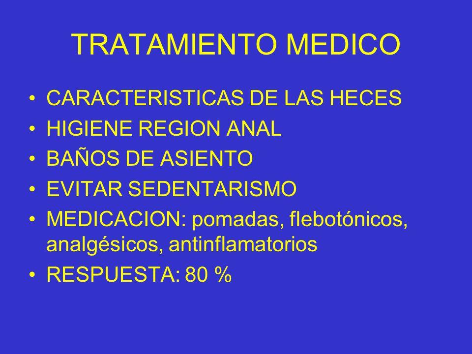 TRATAMIENTO MEDICO CARACTERISTICAS DE LAS HECES HIGIENE REGION ANAL