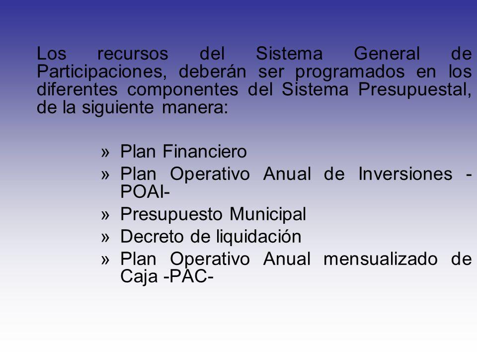 Los recursos del Sistema General de Participaciones, deberán ser programados en los diferentes componentes del Sistema Presupuestal, de la siguiente manera: