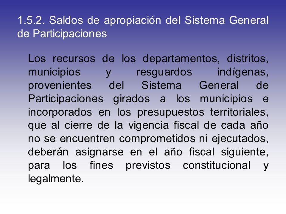 1.5.2. Saldos de apropiación del Sistema General de Participaciones