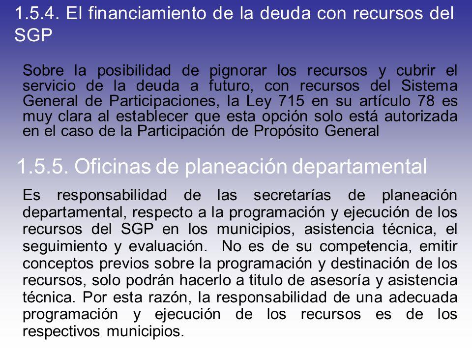 1.5.4. El financiamiento de la deuda con recursos del SGP