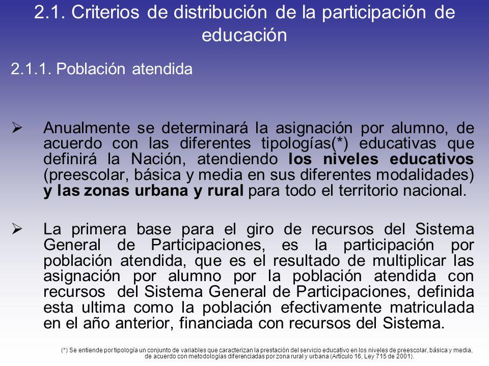 2.1. Criterios de distribución de la participación de educación