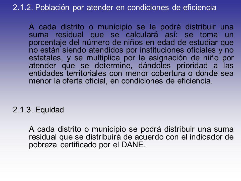 2.1.2. Población por atender en condiciones de eficiencia