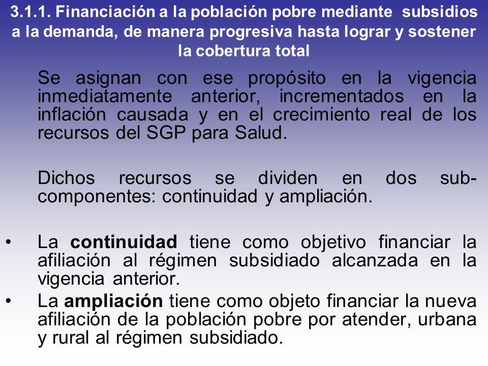 3.1.1. Financiación a la población pobre mediante subsidios a la demanda, de manera progresiva hasta lograr y sostener la cobertura total
