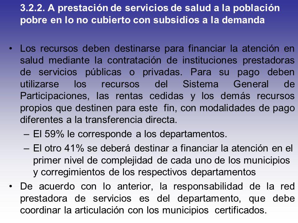 3.2.2. A prestación de servicios de salud a la población pobre en lo no cubierto con subsidios a la demanda