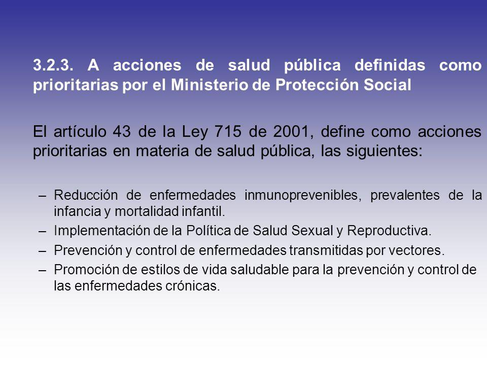 3.2.3. A acciones de salud pública definidas como prioritarias por el Ministerio de Protección Social