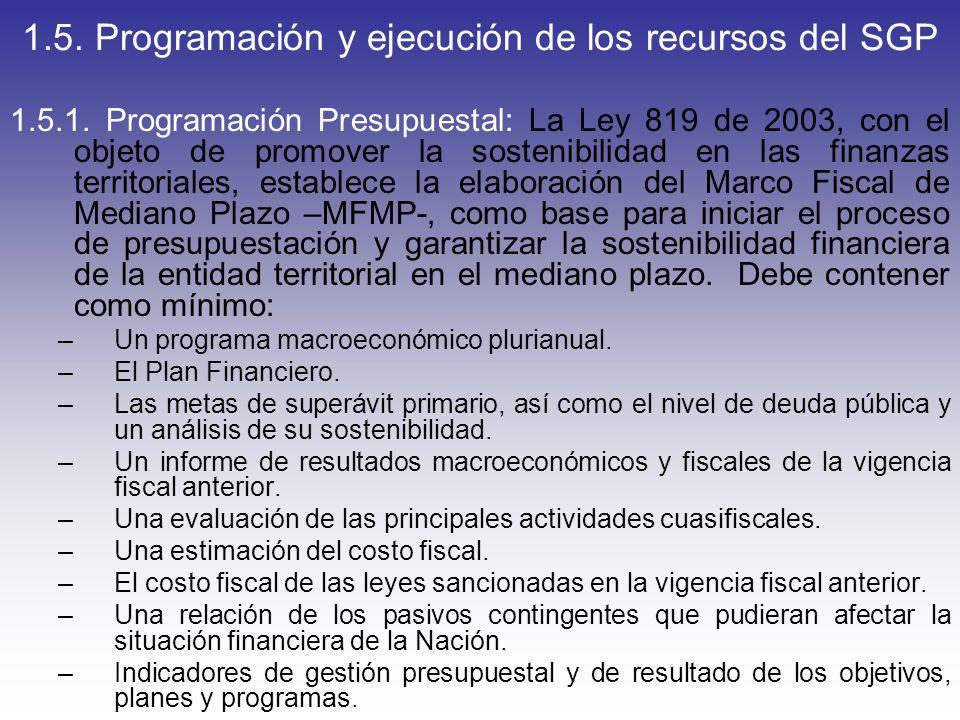 1.5. Programación y ejecución de los recursos del SGP