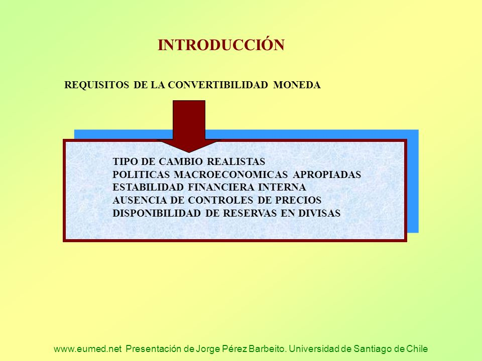 INTRODUCCIÓN REQUISITOS DE LA CONVERTIBILIDAD MONEDA
