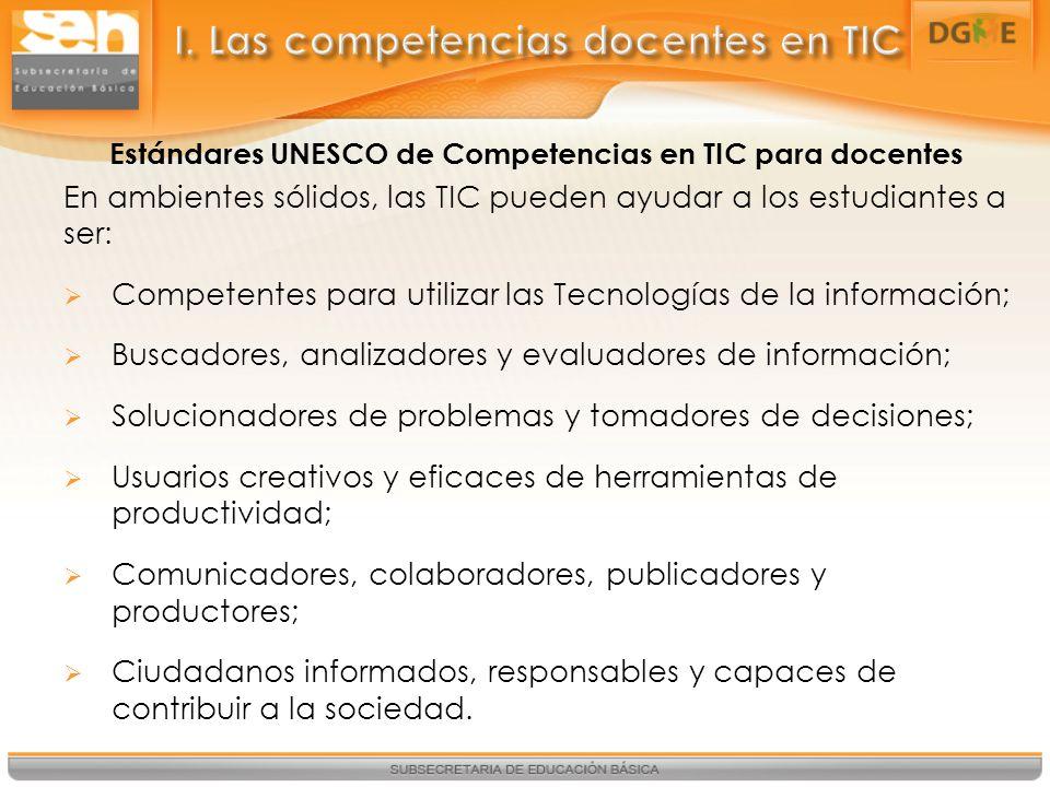 I. Las competencias docentes en TIC