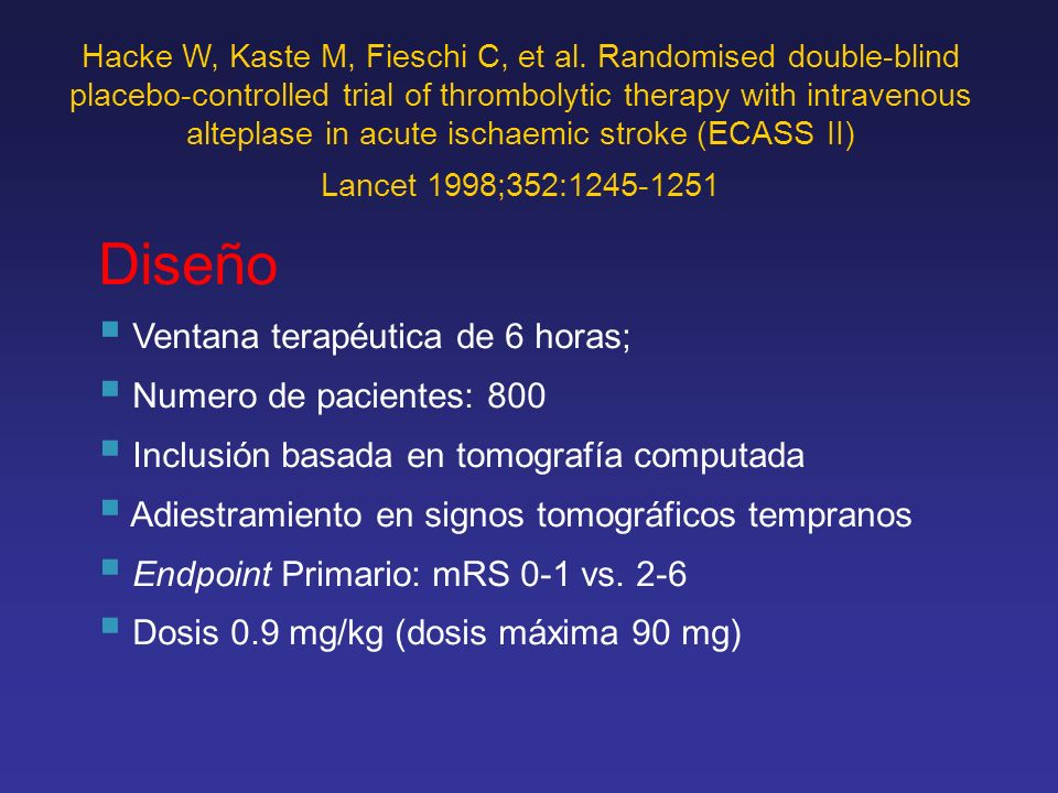 Diseño Ventana terapéutica de 6 horas; Numero de pacientes: 800
