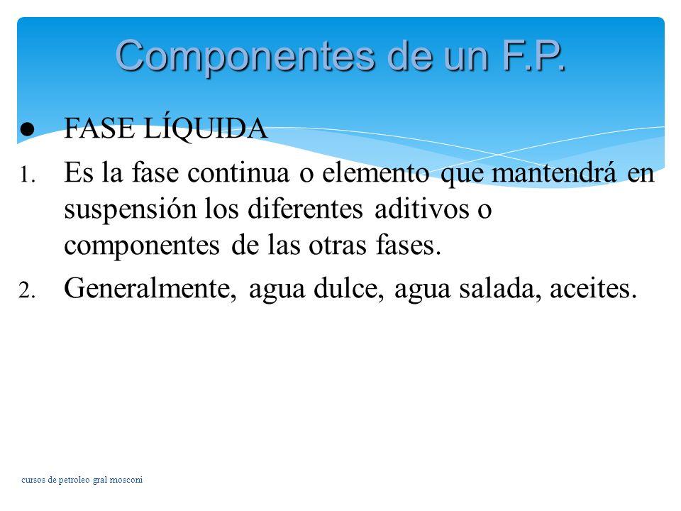 Componentes de un F.P. FASE LÍQUIDA
