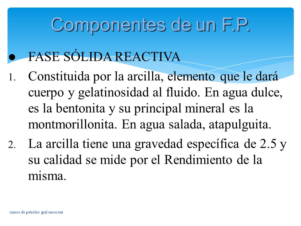 Componentes de un F.P. FASE SÓLIDA REACTIVA