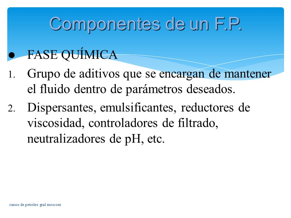 Componentes de un F.P. FASE QUÍMICA