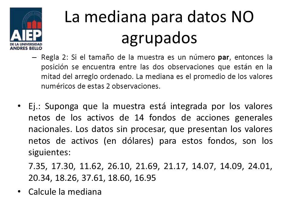 La mediana para datos NO agrupados
