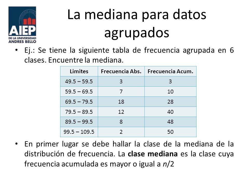 La mediana para datos agrupados