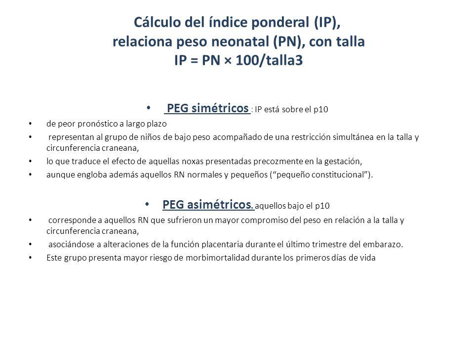 Cálculo del índice ponderal (IP), relaciona peso neonatal (PN), con talla IP = PN × 100/talla3