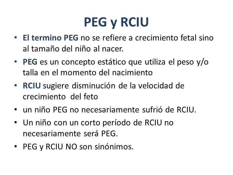 PEG y RCIU El termino PEG no se refiere a crecimiento fetal sino al tamaño del niño al nacer.