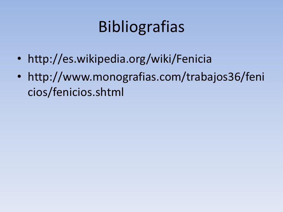 Bibliografias http://es.wikipedia.org/wiki/Fenicia