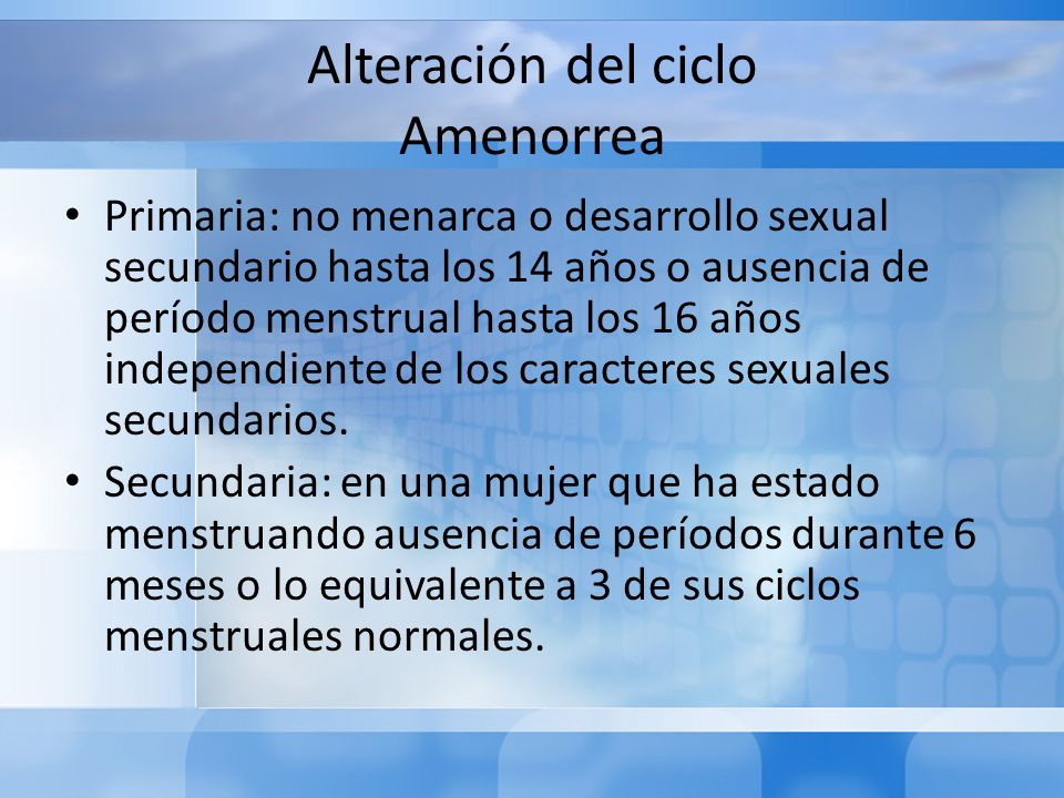 Alteración del ciclo Amenorrea