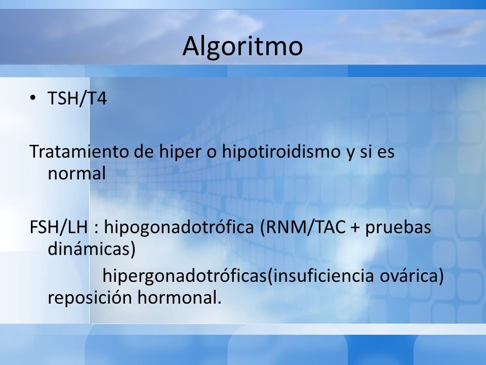 Algoritmo TSH/T4 Tratamiento de hiper o hipotiroidismo y si es normal