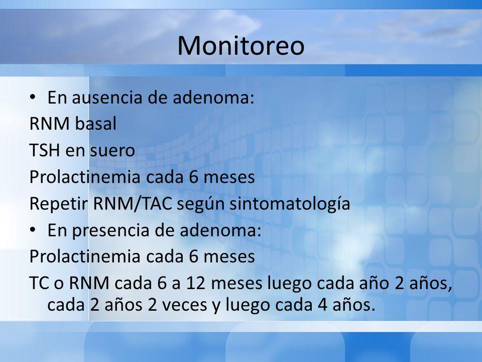 Monitoreo En ausencia de adenoma: RNM basal TSH en suero