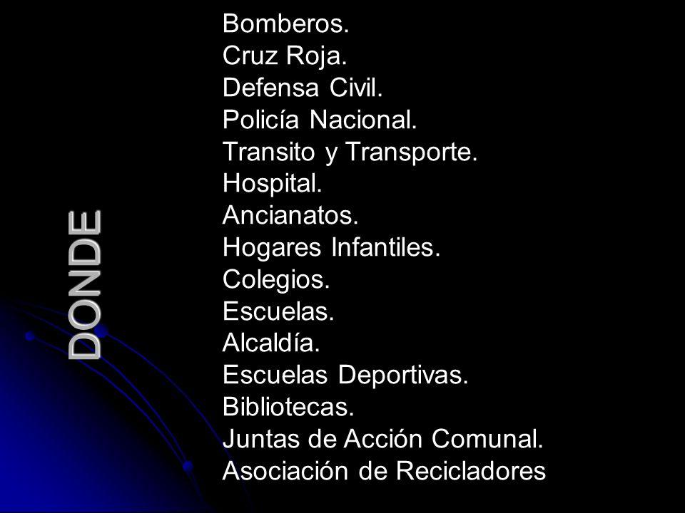 DONDE Bomberos. Cruz Roja. Defensa Civil. Policía Nacional.