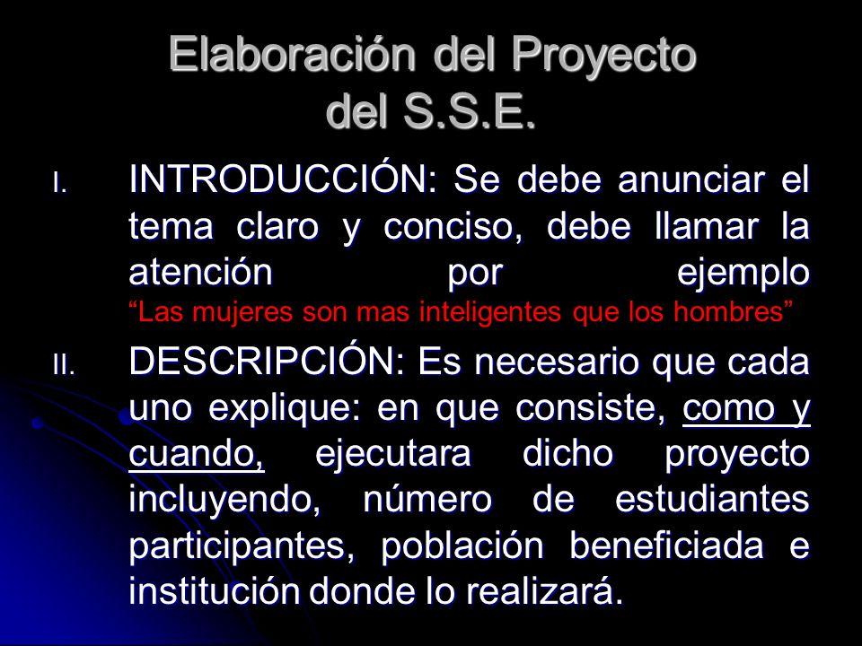 Elaboración del Proyecto del S.S.E.