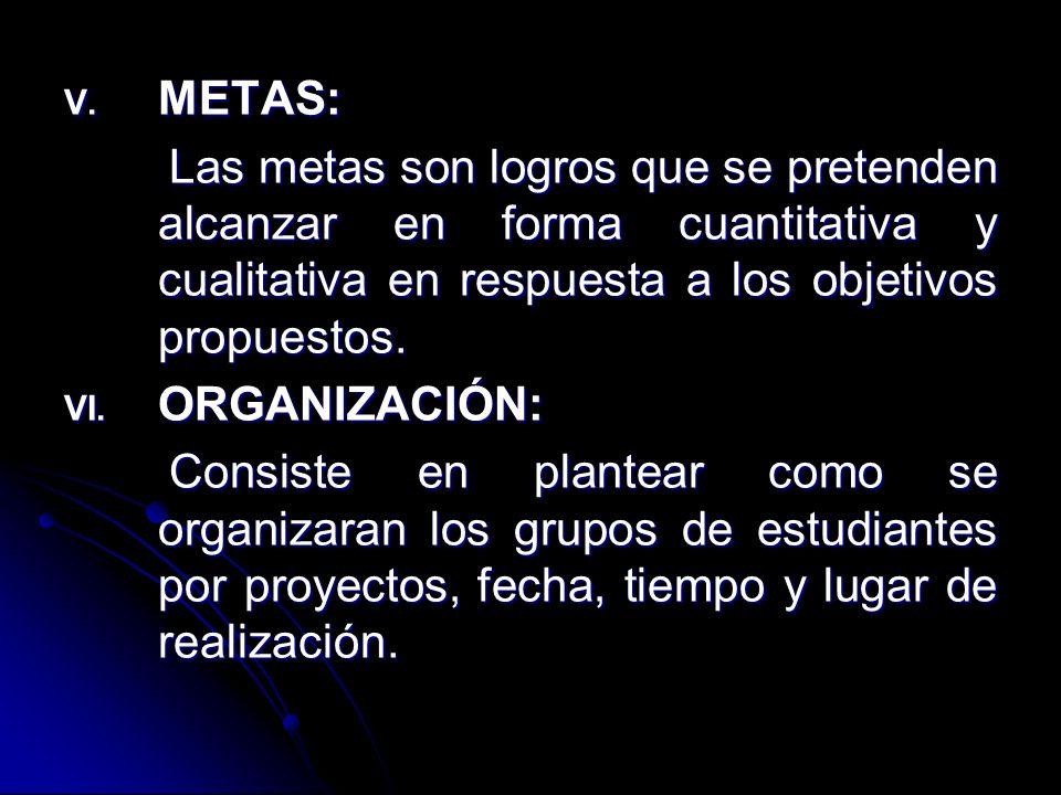 METAS: Las metas son logros que se pretenden alcanzar en forma cuantitativa y cualitativa en respuesta a los objetivos propuestos.