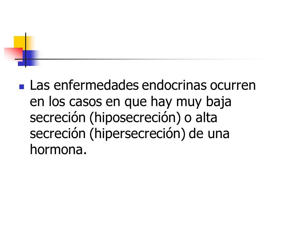Las enfermedades endocrinas ocurren en los casos en que hay muy baja secreción (hiposecreción) o alta secreción (hipersecreción) de una hormona.