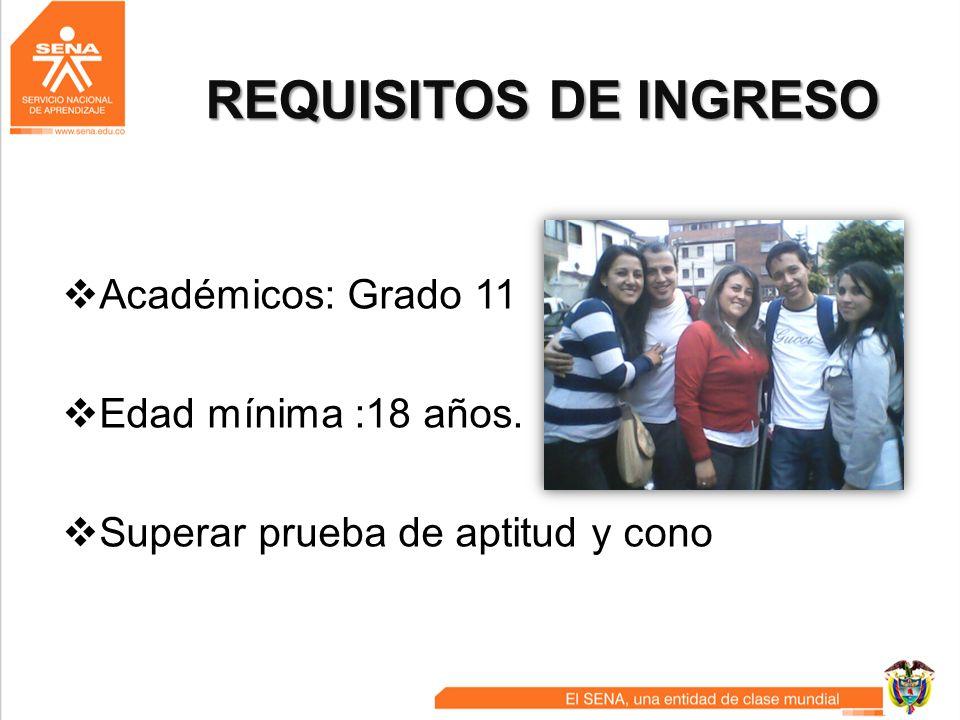 REQUISITOS DE INGRESO Académicos: Grado 11 Edad mínima :18 años.