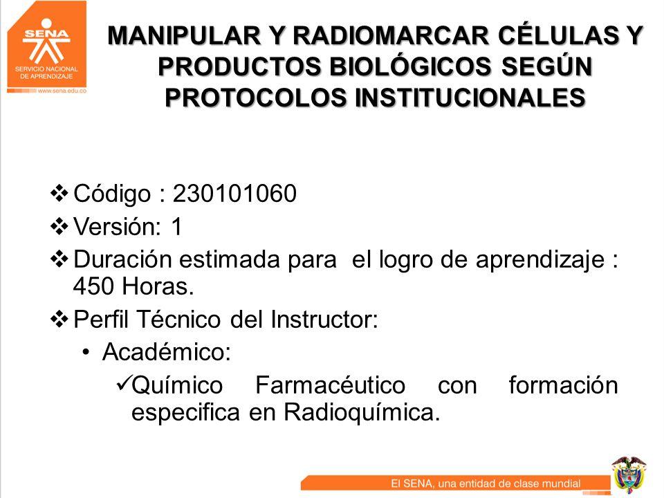 MANIPULAR Y RADIOMARCAR CÉLULAS Y PRODUCTOS BIOLÓGICOS SEGÚN PROTOCOLOS INSTITUCIONALES