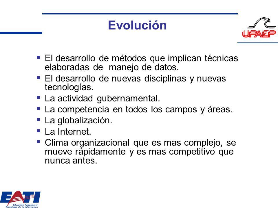 Evolución El desarrollo de métodos que implican técnicas elaboradas de manejo de datos. El desarrollo de nuevas disciplinas y nuevas tecnologías.