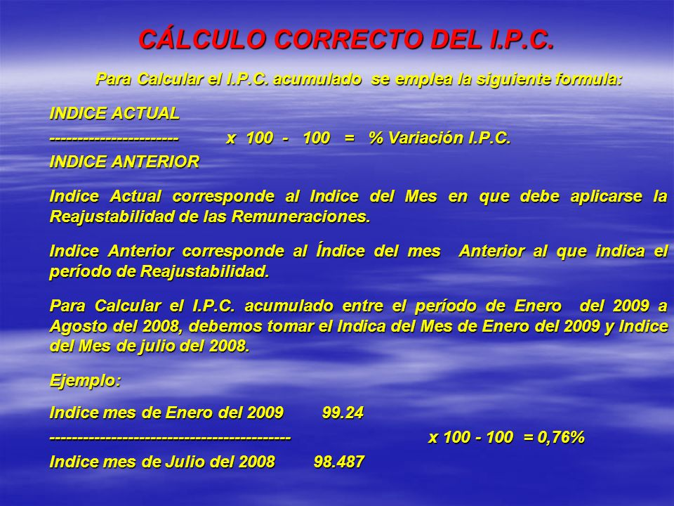 CÁLCULO CORRECTO DEL I.P.C.