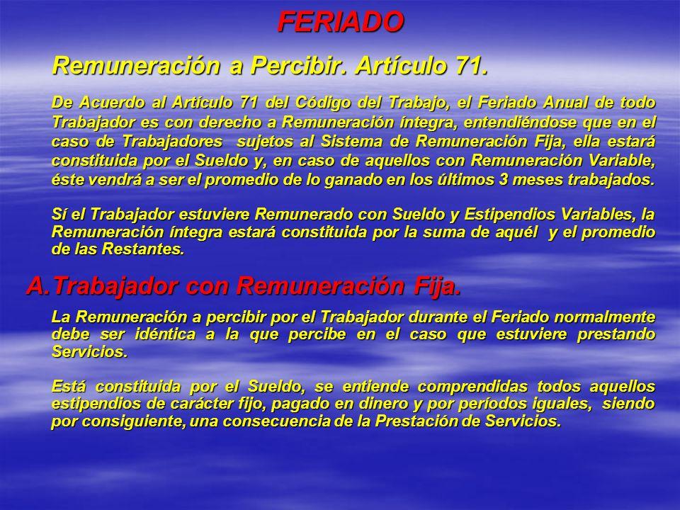 FERIADO A. Trabajador con Remuneración Fija.