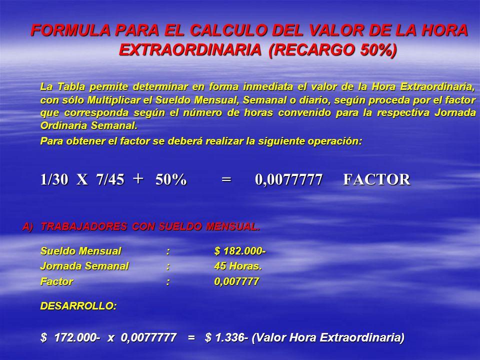 FORMULA PARA EL CALCULO DEL VALOR DE LA HORA EXTRAORDINARIA (RECARGO 50%)