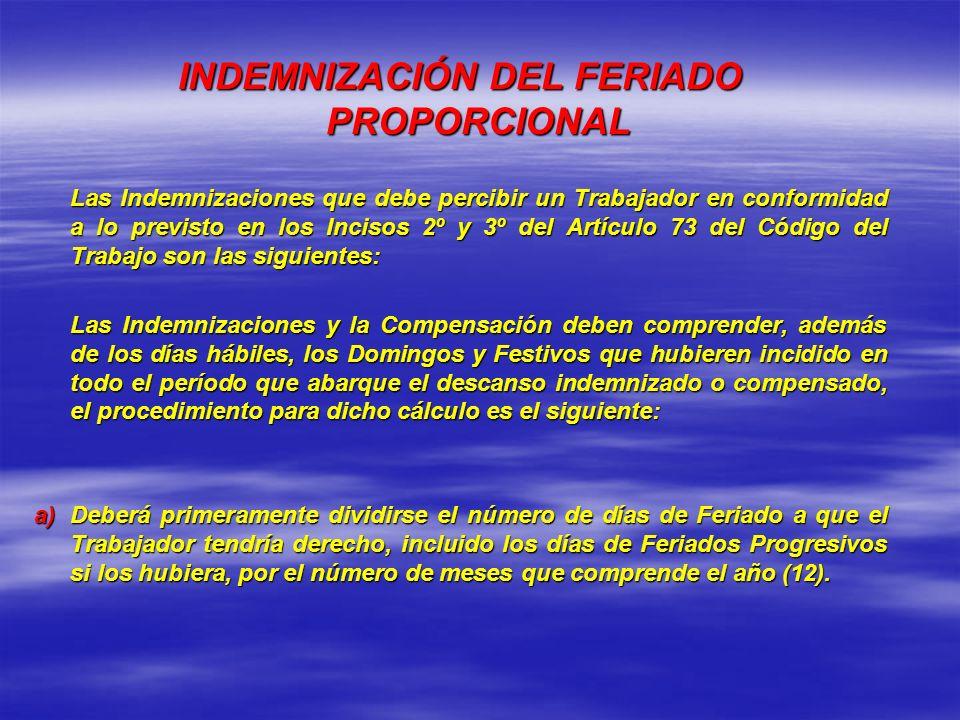 INDEMNIZACIÓN DEL FERIADO PROPORCIONAL