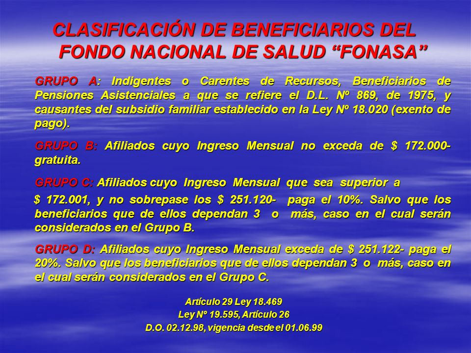 CLASIFICACIÓN DE BENEFICIARIOS DEL FONDO NACIONAL DE SALUD FONASA