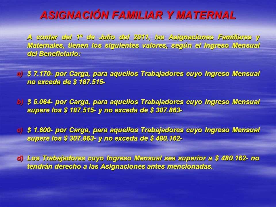 ASIGNACIÓN FAMILIAR Y MATERNAL
