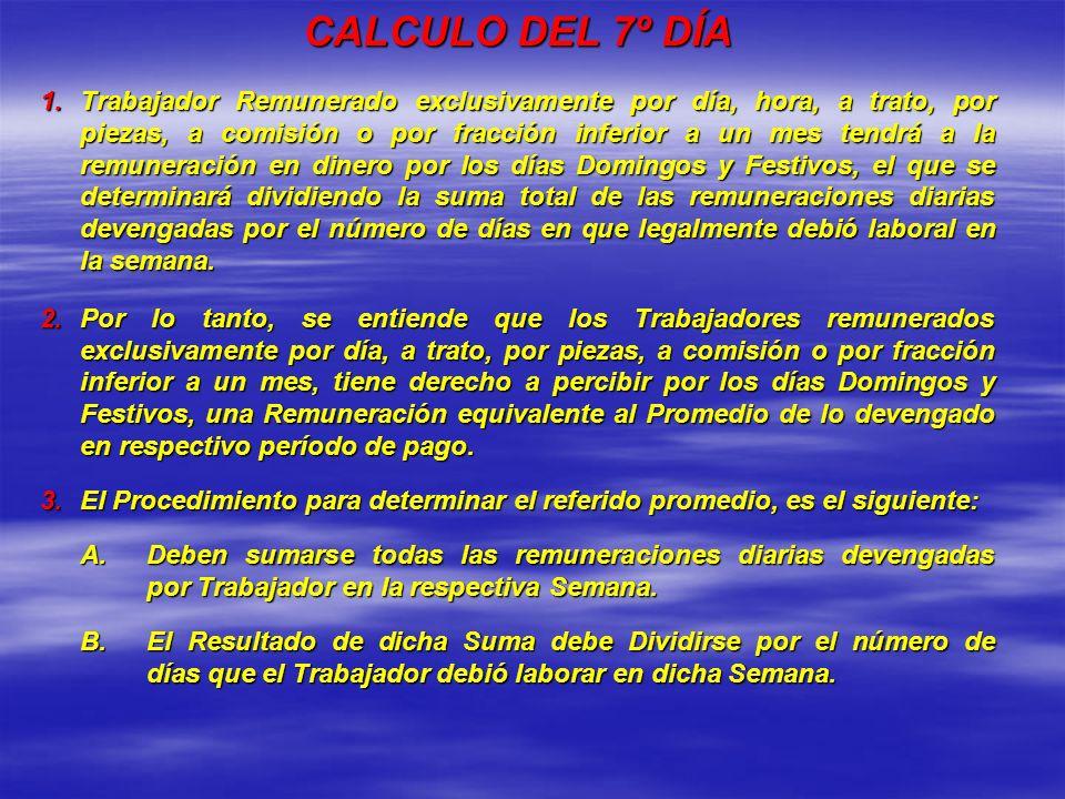 CALCULO DEL 7º DÍA