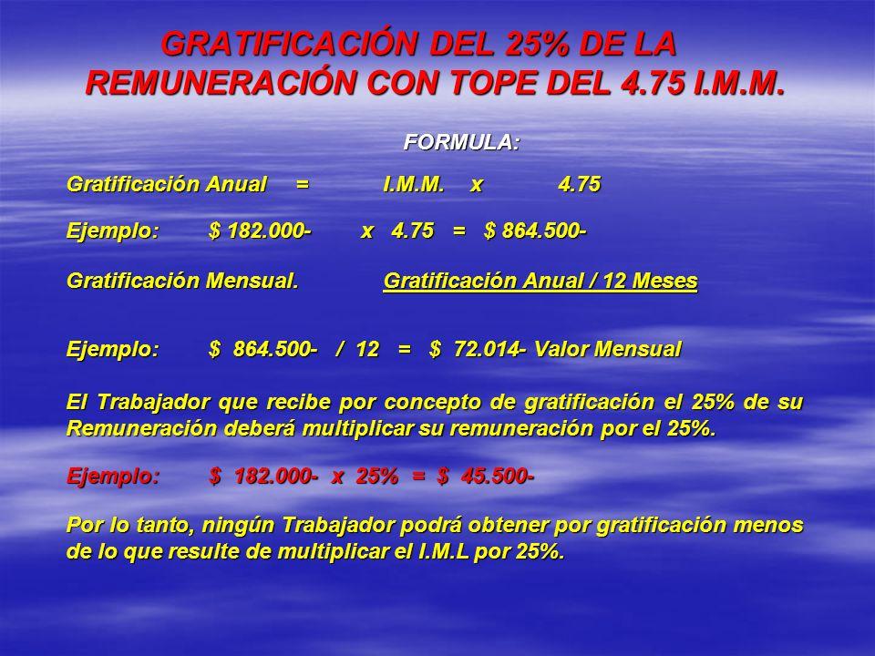 GRATIFICACIÓN DEL 25% DE LA REMUNERACIÓN CON TOPE DEL 4.75 I.M.M.