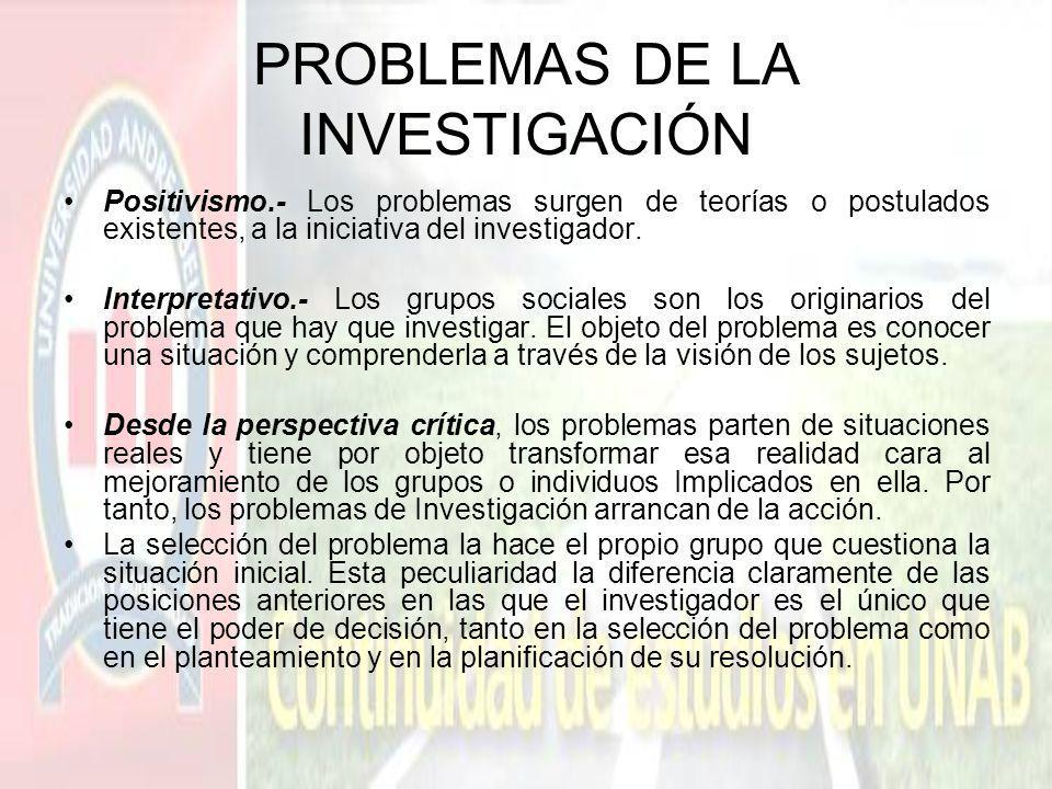 PROBLEMAS DE LA INVESTIGACIÓN